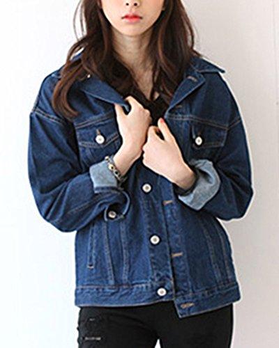 Marino De Azul Mezclilla Chaquetas Manga Mezclilla Para Abrigos Cortas Abrigo Mujer Larga FUpwP