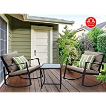 Kozyard Moana Outdoor 3-piece Rocking Wicker Bistro Set, Two Chairs and One Glass Coffee Table, Black Wicker Furniture(Taupe Cushion+Lime Stripe Pillow)
