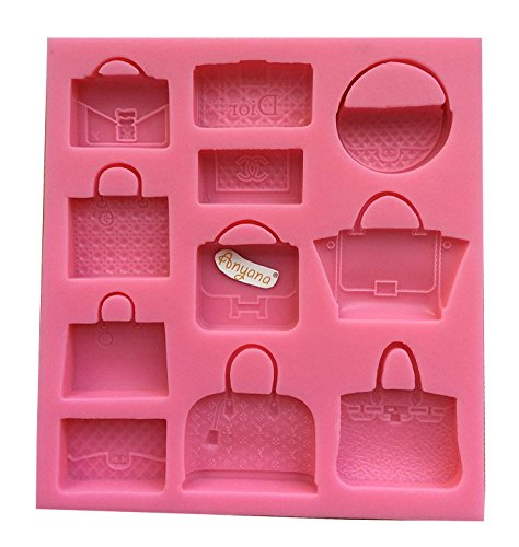 Anyana 3D Brand Bag Forma Candy Silicone Mold for Sugarcraft, Cake Decoration, Cupcake Topper, Fondant, Jewelry, Polymer Clay, Crafting Projects, Non stick easy to use