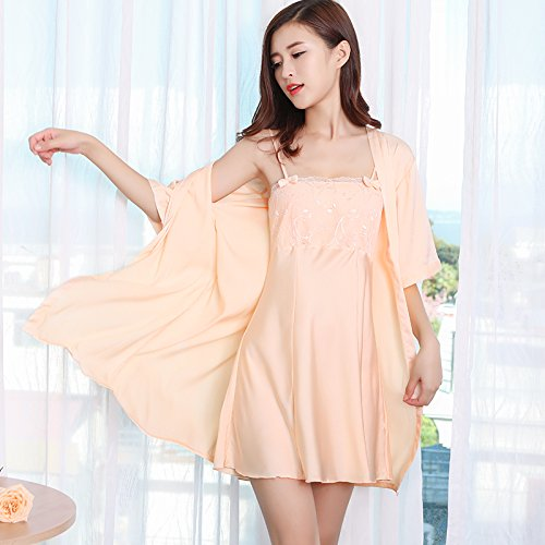 8043ed34ba MH-RITA Sexy pajamas female summer two piece ice silk straps embroidery  Nightdress spring and