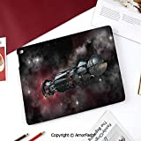 Galaxy Samsung Galaxy Tab A 8.0 Case (2015 Old Model) - Standing Cover Folio Case,Spaceship in Interstellar Travel on a Galactic Starfield Alien Fantasy Science Fiction