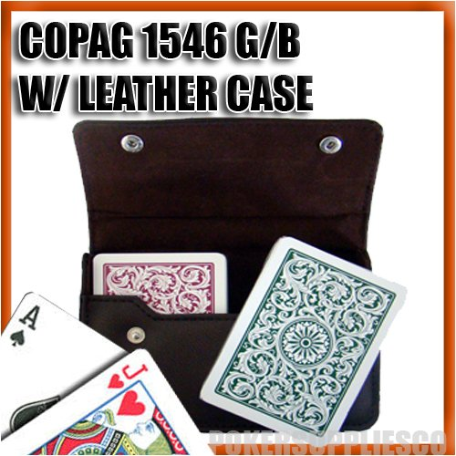 Green Copag (Copag Plastic Cards Leather Case Set 1546 Green/Burgundy Bridge Size, Regular Index)