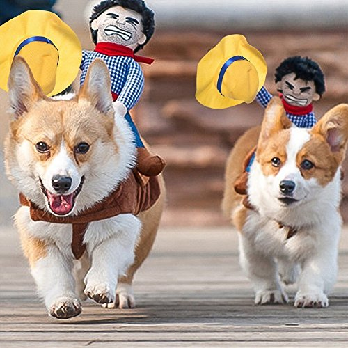 Fezrgea Cute Riding Horse Cowboy Pet Dog Costumes Puppy Halloween Party (Horse And Cowboy Dog Costume)
