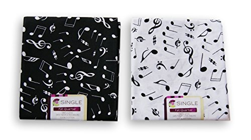 Creative Cuts Music Notes Fat Quarters Bundle - Black and White Pattern Theme Theme Cotton Fabric