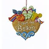 """Kurt Adler 4"""" Resin """"i Love The Beach"""" Ornament"""