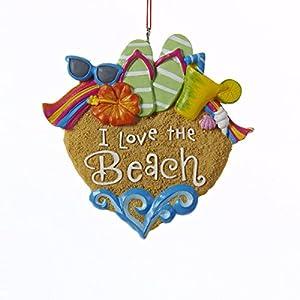 Kurt Adler I Love The Beach Sandals Sunglasses Shells Christmas Ornament 87