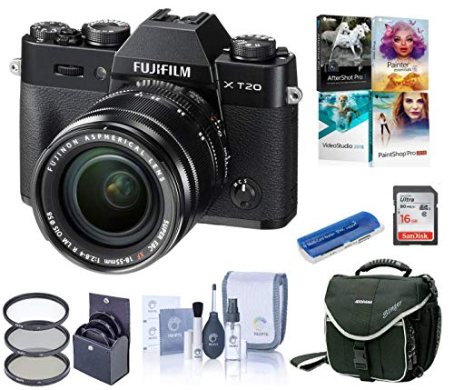 Fujifilm X-T20 Mirrorless Digital Camera, w/XC 18-55mm F2.8-4 R Lens Black, 24.3MP, 4K UHD Video, Bundle with Camera Bag + Filter Kit + PC Software Kit + 16GB SD Card + Cleaning Kit + Card Reader