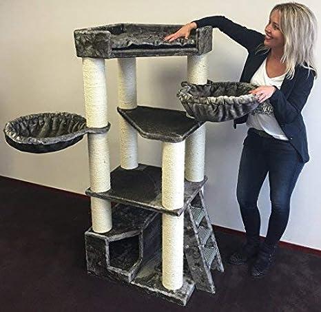 Rascador para gatos grandes Corner Coon Gris topo arbol xxl maine coon gato gigante sisal muebles sofa casa escalador casita torre Árboles rascadores cama ...