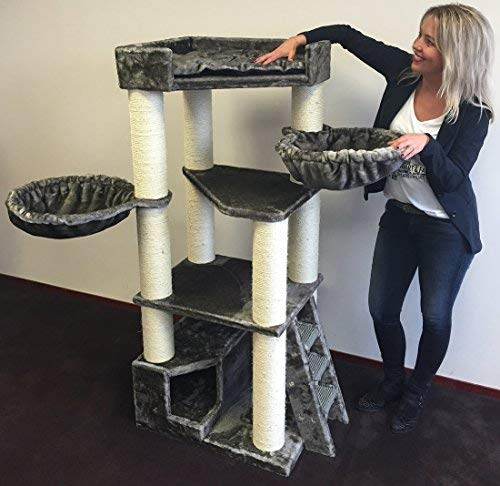 RHRQuality Cat tree for large cats Corner Coon Taupe Grey XXL extra big breed trees scratch post and adult towers Furniture scratcher activity centre