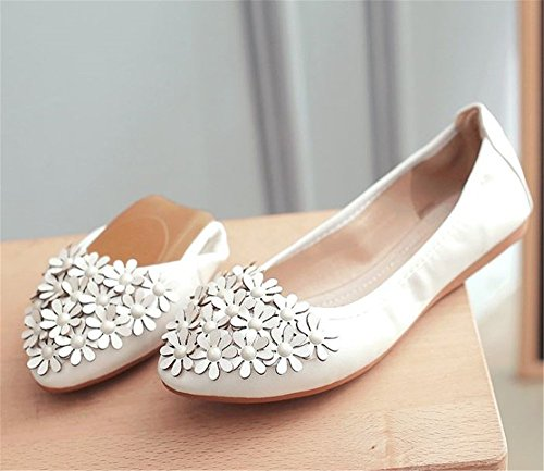 Toe Flats White Pointed Foldable Comfort Shoe Women Flower fxXFq5wnS