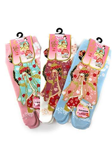 Maiko Girl - Nagomi 3 Pack MAIKO Girl and Puppy Dog Japanese Split Toe Tabi Socks Womens Sz 6-8, Pink White Blue