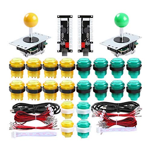 Qenker 2 Player LED Arcade DIY Parts 2X USB Encoder + 2X Joystick + 20x LED Arcade Buttons for PC, MAME, Raspberry Pi, Windows (Yellow & Green Kit)