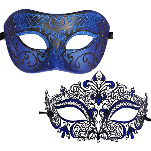 Xvevina Masquerade Mask for Couples His/Her Glitter Venetian Pretty Party Evening Prom Mardi Gras Mask (Blue Black 2 Pack) -