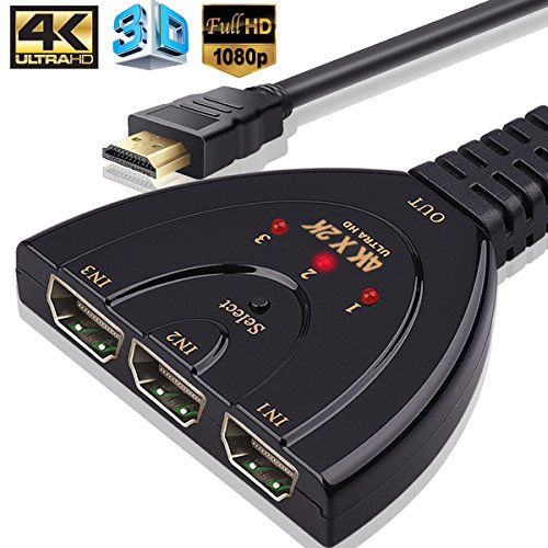 HDMI Switch,3 Port 4K Switch Splitter with Pigtail Cable HDMI 1.4 Supports 3D, 4K 1080P,HD Audio Wonlyus
