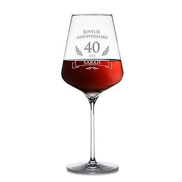 Amavel Verre à Vin Rouge Avec Gravure 40 Ans Personnalisé Avec