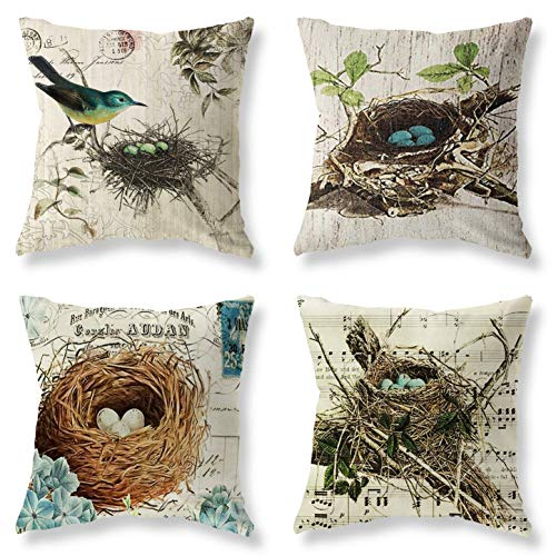 """Throw Pillow Covers Adorable Animals Bird Flower Blue Butterfly Throw Pillow Case Couch Outdoor Bench Decorative Pillows Cotton Linen Gray Throw Pillows Cases 18""""x18"""" Pack of 4"""