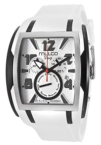 Mulco Deep Silver Dial Chronograph White Silicone Unisex Watch MW113187015 by MULCO
