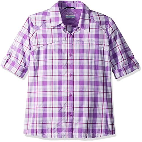 Plaid Jewel (Columbia Silver Ridge Plaid Long Sleeve Shirt, Crown Jewel Plaid, Small)