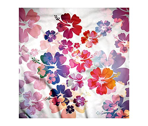 Hawaiian Bandana by Lunarable, Exotic Floral Print Island Theme Tropical Hawaii Flowers Pattern Art Print, Printed Unisex Bandana Head and Neck Tie Scarf Headband, 22 X 22 Inches, Purple Red Orange Hawaiian Bandana