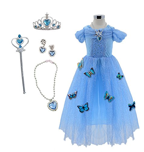 TOKYO-T Girls Cinderella Dress Size 4-6 Princess Costume with Full Accessories Butterfly (Blue, (Real Disney Princess Costumes)