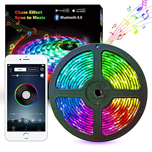 Music LED Strip Lights 5M 16.54ft LED Lights Strip Bluetooth Smart Phone APP RF Remote Controlled RGB LED Strip Rope Lights Waterproof LED Strip Lights Kits Support iPhone Android Rainbow Colors