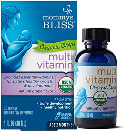 Mommy's Bliss Baby Multivitamin Organic Drops Natural Grape Flavor, 1 Ounce