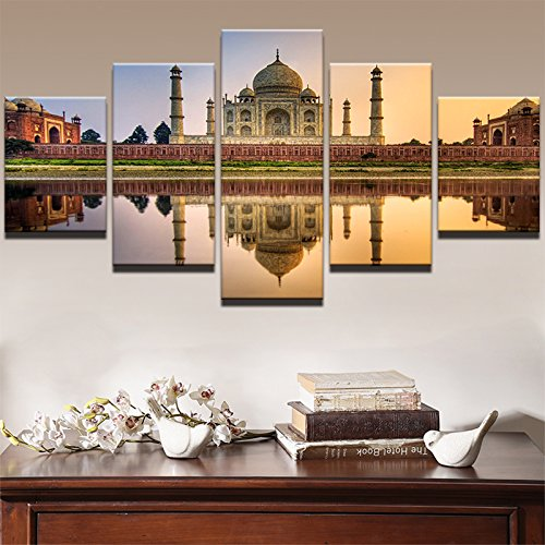 Premium Quality Canvas Printed Wall Art Poster 5 Pieces / 5 Pannel Wall Decor Gorgeous Islamic Mosque Castle Painting, Home Decor Pictures - With Wooden Frame by PEACOCK JEWELS