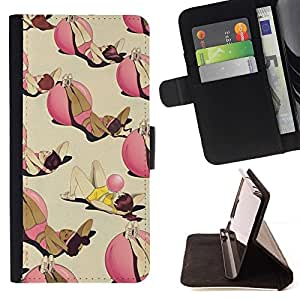 For Samsung Galaxy J3(2016) J320F J320P J320M J320Y Case , Ejercicio de entrenamiento de fitness de bolitas profundo divertido- la tarjeta de Crédito Slots PU Funda de cuero Monedero caso cubierta de piel