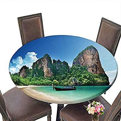 "Polyester Tablecloth (Elastic Edge) suitable for all occasions, (29.5""round)Tropical Decor Railay Beach in Krabi Thailand Small Boat Crystal Water Rock Cliff Tropical Landscape Bule Green."