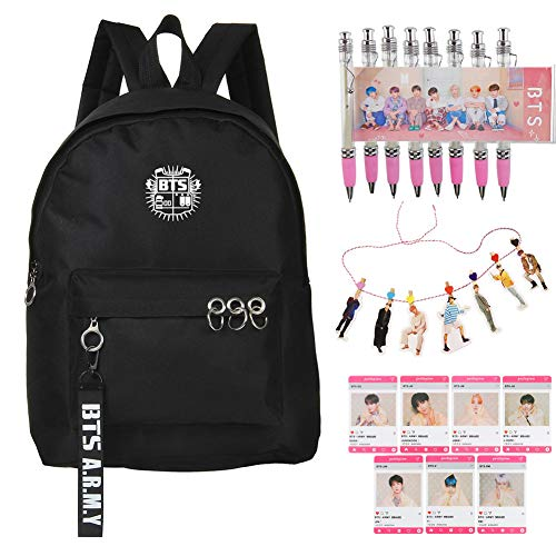 Youyouchard Kpop BTS Bangtan Boys MAP of The Soul: Person, BTS Backpack + BTS Photo Card with Clip + BTS Photocard Transparent + BTS Pens, for All Fans of BTS(H04)
