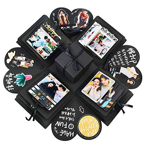 Creative Explosion Gift Box, DIY Handmade Photo Album Scrapbooking Gift Box for Birthday Party and Surprise Box About Love Opend with 14''x14''(Black) ()