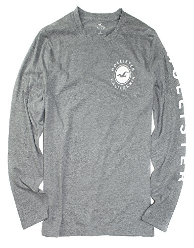 Hollister Men's Long Sleeve Graphic T-Shirt HOM-7 (Small, 015 Grey)