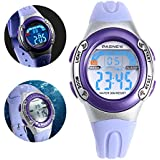 NICERIO PSE-226 Waterproof LED Digital Sports Watch,Children Sport Watch with Date /Alarm /Stopwatch Function for Boys Girls(Light Purple)