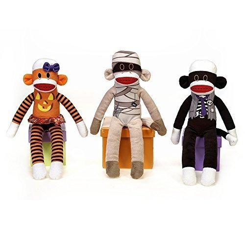 Halloween Plush Sock Monkeys Wearing Costumes - 3