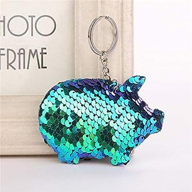 Amazon.com: BATOP Cute chaveiro Pig Keychain Glitter Pompom ...