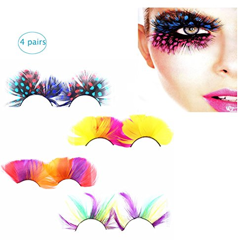 [BTArtbox 4 Pairs Deluxe Party Stage Peacock Feather False Eyelashes Eye Lashes Haloween Cosplay Gift] (Cheap Hallowen Costumes)