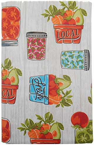 - Mainstream Filled Canning Jars and Local Fruits and Vegetables Vinyl Flannel Back Tablecloth on Gray Weathered Wood Background (52