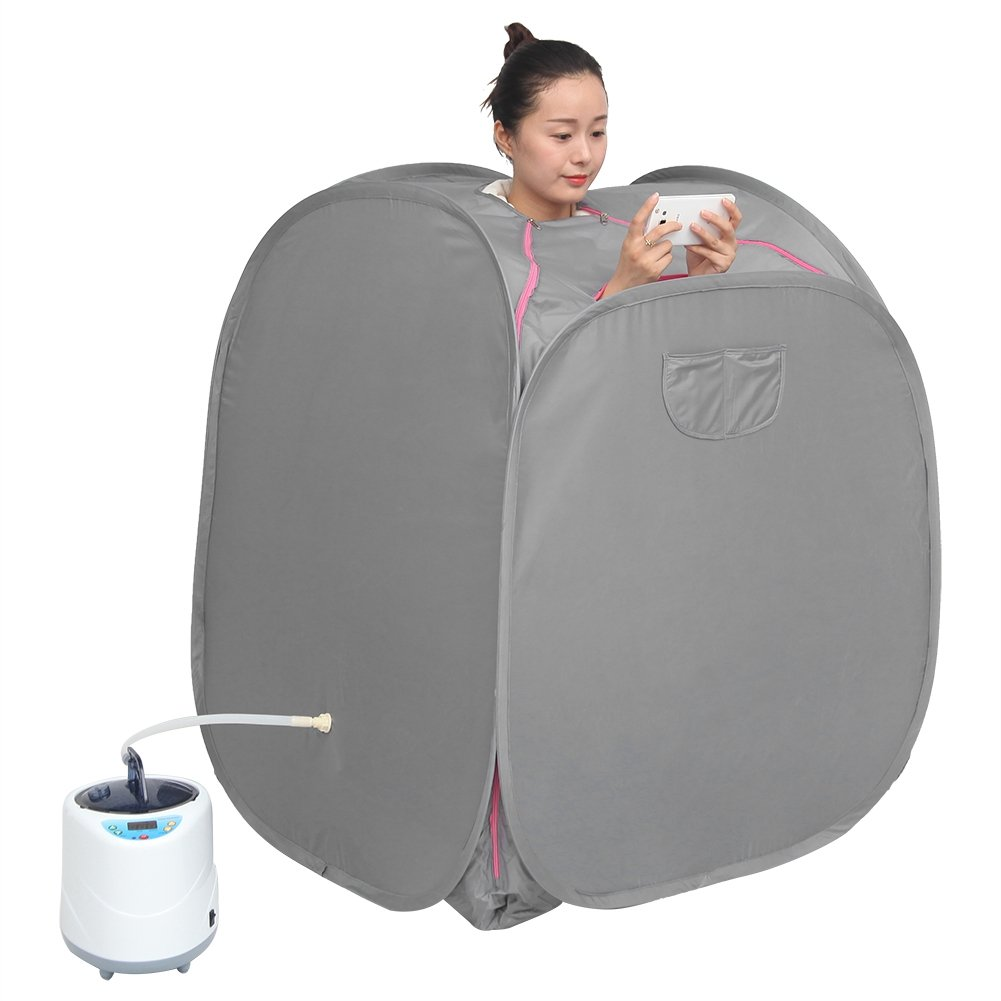 2L Stainless Steel Liner Sauna Steamer Tent Personal Spa Body Heater Pot Detoxify Machine Indoor Body Slimming Therapy Fumigation with Wireless Remote Control(UK Plug) Zerodis