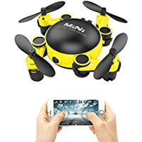 PinPle Drone Mini Foldable UAV (Unmanned Aerial Vehicle) with 720P HD Camera & 2.4GHz 6-Axis Gyro 4CH Quadcopter & Wifi Remote Control