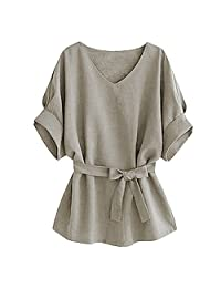 Women Vogue V-neck Linen Wide Hem Plus Size Tunic Blouse Tee T-Shirt Tops