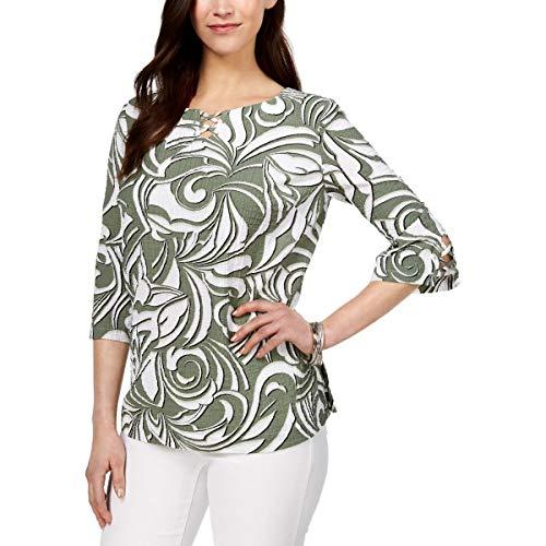 JM Collection Womens Lattice Crinkle Blouse Green L