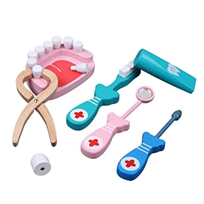 Anniston Kids Toys, Wooden Role Play Dentist Doctor Dental Teeth Model Tools Set Children Game Toy Pretend Play for Baby Children Toddlers Boys & Girls : Baby