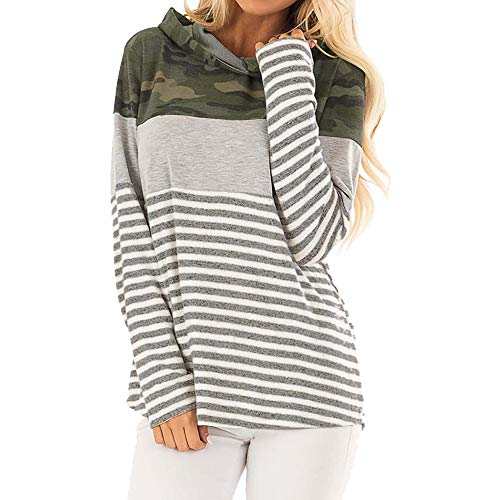 Sparkle Camo (Keliay Bargain Womens Casual Long Sleeve Hoodie Striped Camouflage Print Blouse Tops T Shirt)