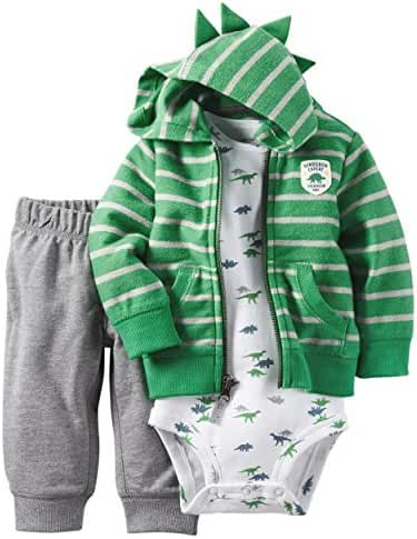 Carter's Baby Boys 3-Piece Short-Sleeve Safari Bodysuit, Dinosaur Expert, 24 Months