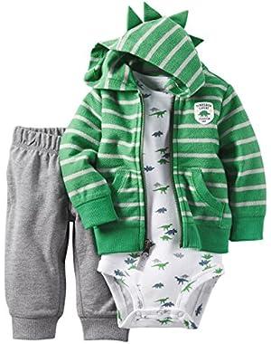 Carter's Baby Boys 3-Piece Short-Sleeve Safari Bodysuit, Dinosaur Expert, 3 Months