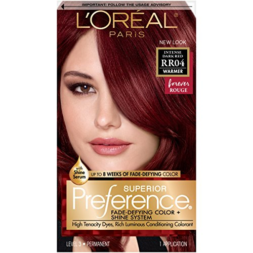 - L'Oréal Paris Superior Preference Fade-Defying + Shine Permanent Hair Color, RR-04 Intense Dark Red, 1 kit Hair Dye