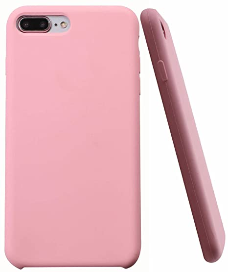 check out c8009 bf4c2 Soft Liquid Silicone iPhone 8 Plus Cover Case Inner Soft Microfiber Cloth  Lining Cushion for Apple iPhone 7 Plus/iPhone 8 Plus (Light Pink)