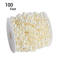 Hapy Shop 100 Feet Ivory Artificial Pearls String Fishing Line by The Roll for Garland...