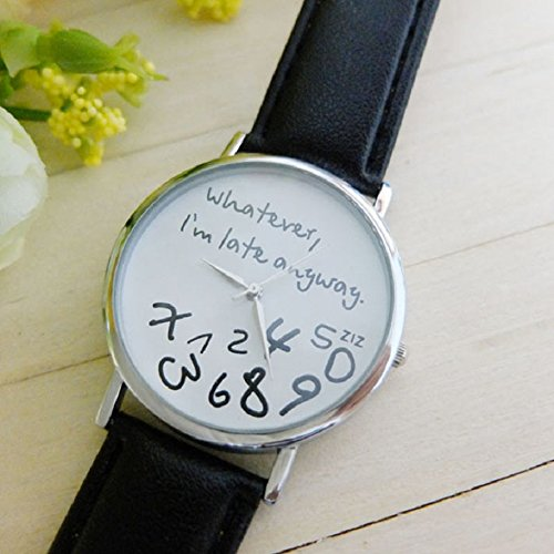 Amazon.com: Lookatool i am late watch, Hot Women Leather Watch Whatever I am Late Anyway Letter Watches New late anyway watch(White): Health & Personal Care
