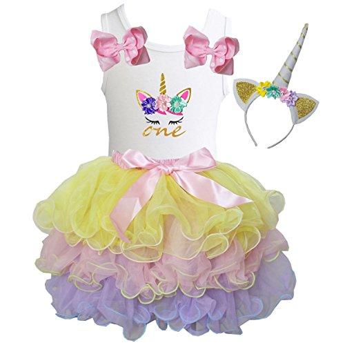 Kirei Sui Girls Pastel Tutu & Unicorn Birthday White Tee & Headband